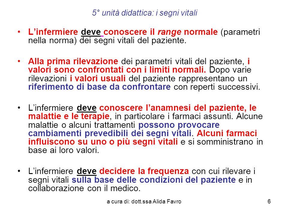 a cura di: dott.ssa Alida Favro27 5° unità didattica: i segni vitali- la temperatura corporea IPERTERMIA FEBBRILE o FEBBRE o PIRESSIA La disregolazione è causata dalla presenza nel sangue di sostanze prodotte dai leucociti dette PIROGENI ENDOGENI o LEUCOCITARI (citochine: interleuchine o interferoni, e prostaglandine (PGE2) in qualità di mediatori della flogosi) in risposta a una serie di eventi:  Infezioni;  Presenza di varie tossine;  Neoplasie;  Traumi cranici;  Stati infiammatori cronici;  Necrosi tissutali.