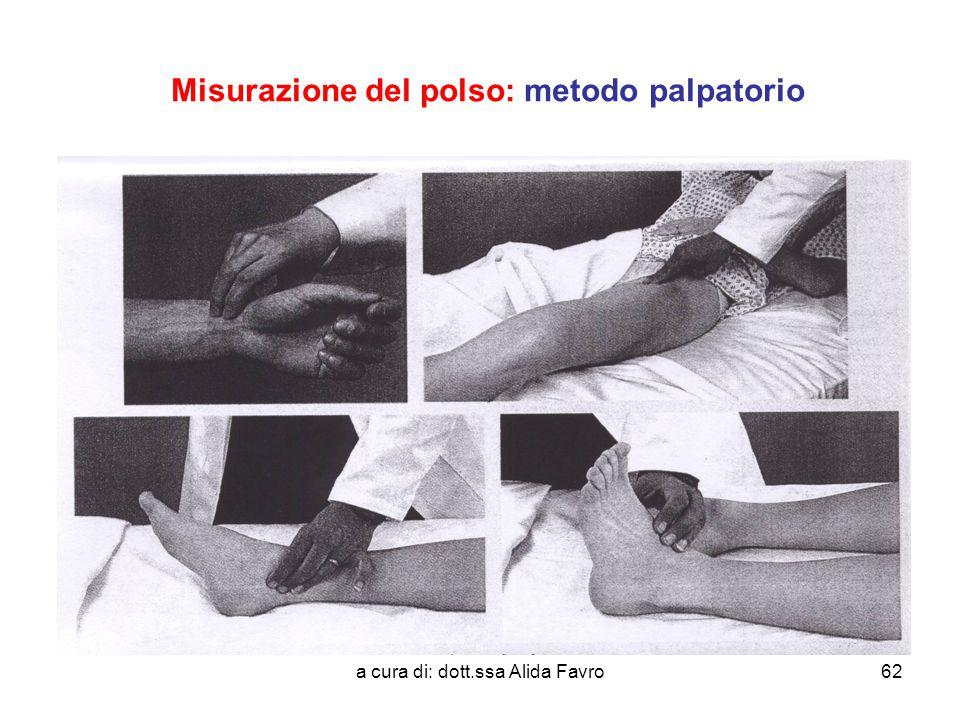 a cura di: dott.ssa Alida Favro62 Misurazione del polso: metodo palpatorio