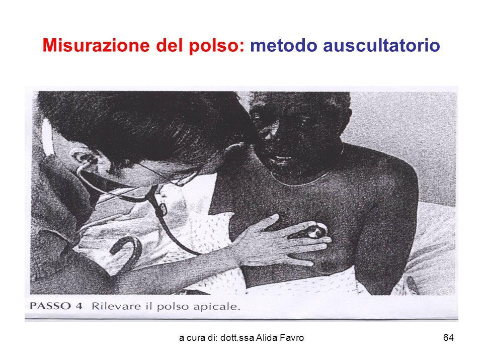 a cura di: dott.ssa Alida Favro64 Misurazione del polso: metodo auscultatorio
