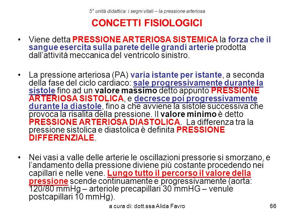 a cura di: dott.ssa Alida Favro66 5° unità didattica: i segni vitali – la pressione arteriosa CONCETTI FISIOLOGICI Viene detta PRESSIONE ARTERIOSA SIS