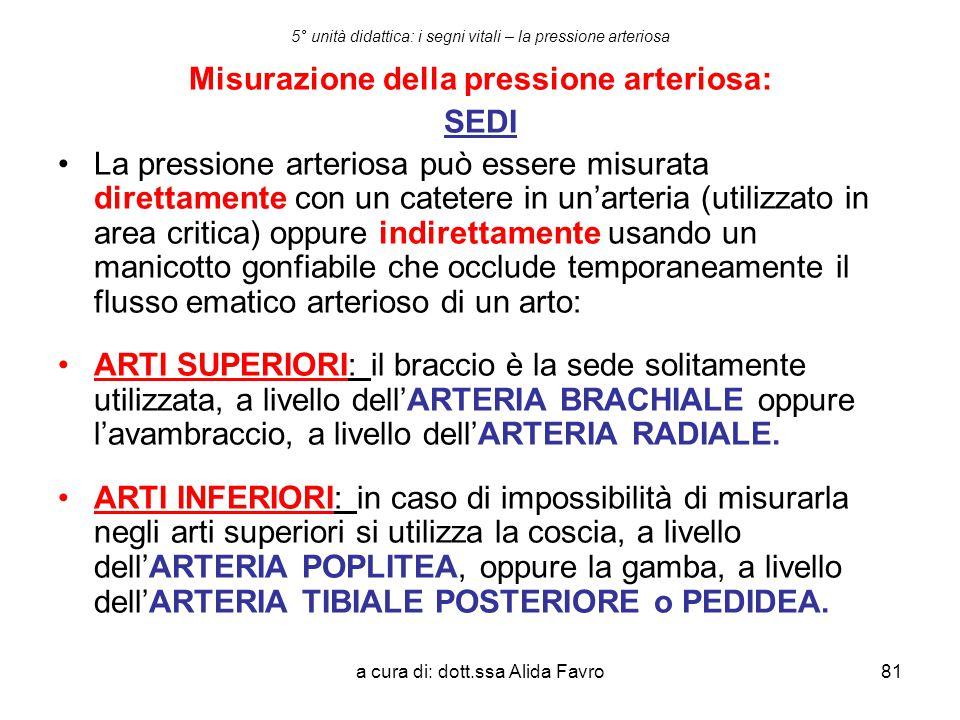 a cura di: dott.ssa Alida Favro81 5° unità didattica: i segni vitali – la pressione arteriosa Misurazione della pressione arteriosa: SEDI La pressione