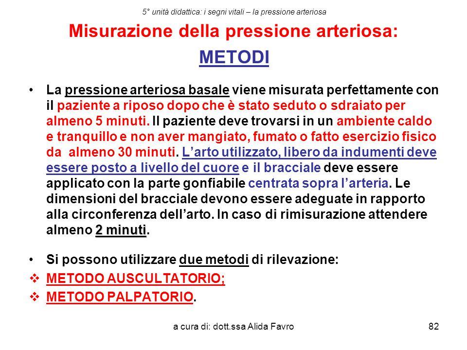a cura di: dott.ssa Alida Favro82 5° unità didattica: i segni vitali – la pressione arteriosa Misurazione della pressione arteriosa: METODI 2 minutiLa
