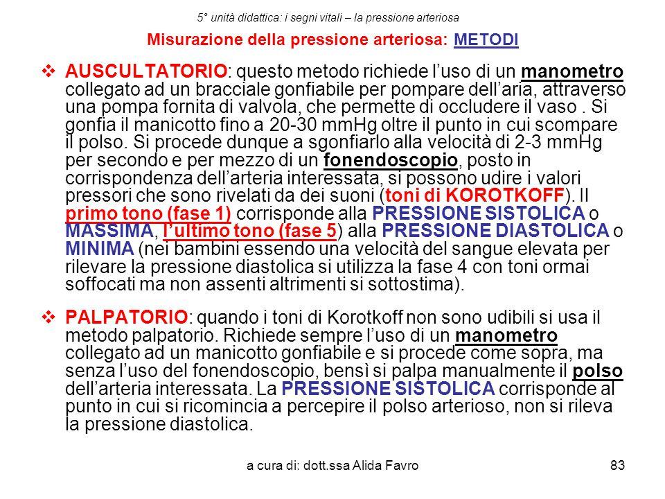 a cura di: dott.ssa Alida Favro83 5° unità didattica: i segni vitali – la pressione arteriosa Misurazione della pressione arteriosa: METODI  AUSCULTA