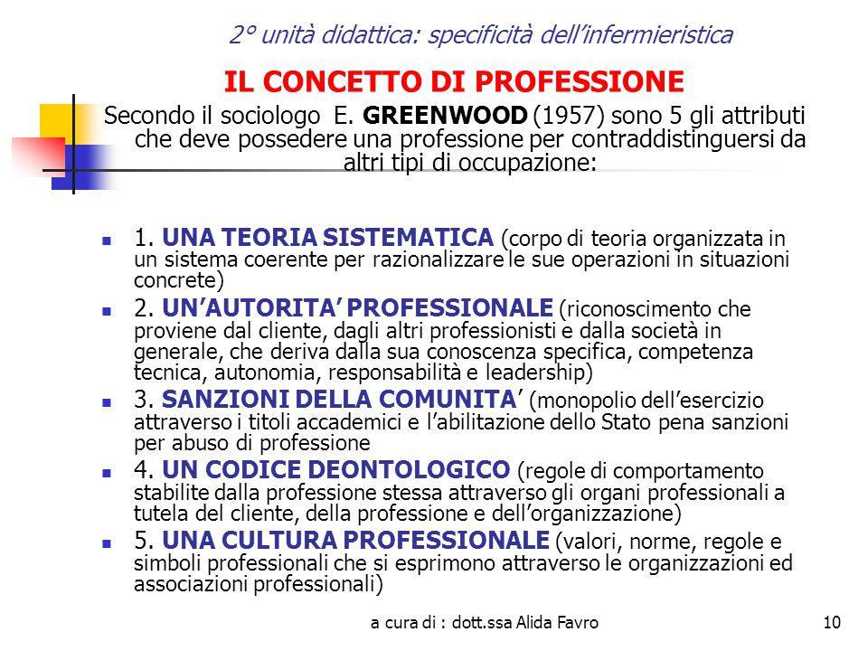 a cura di : dott.ssa Alida Favro10 2° unità didattica: specificità dell'infermieristica IL CONCETTO DI PROFESSIONE Secondo il sociologo E.