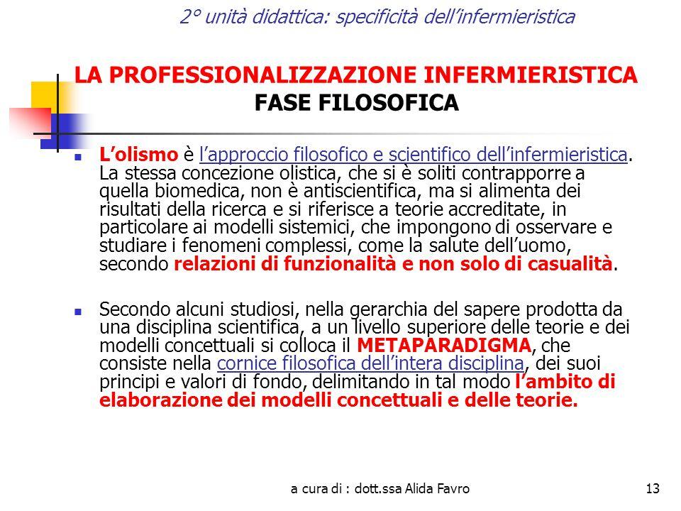 a cura di : dott.ssa Alida Favro13 2° unità didattica: specificità dell'infermieristica LA PROFESSIONALIZZAZIONE INFERMIERISTICA FASE FILOSOFICA L'olismo è l'approccio filosofico e scientifico dell'infermieristica.