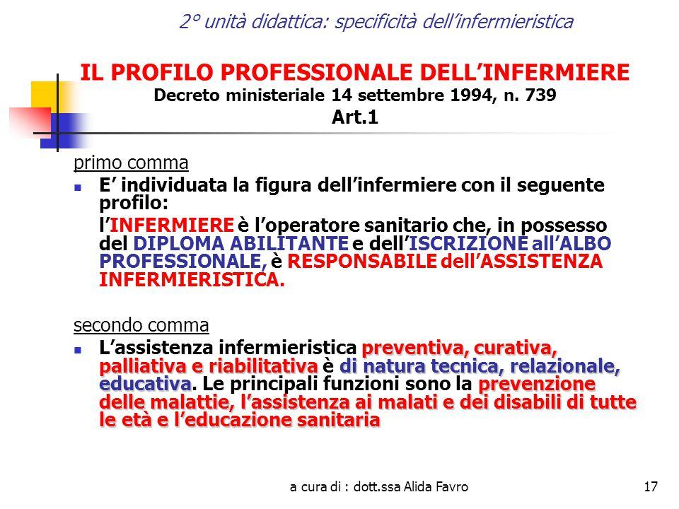 a cura di : dott.ssa Alida Favro17 2° unità didattica: specificità dell'infermieristica IL PROFILO PROFESSIONALE DELL'INFERMIERE Decreto ministeriale 14 settembre 1994, n.