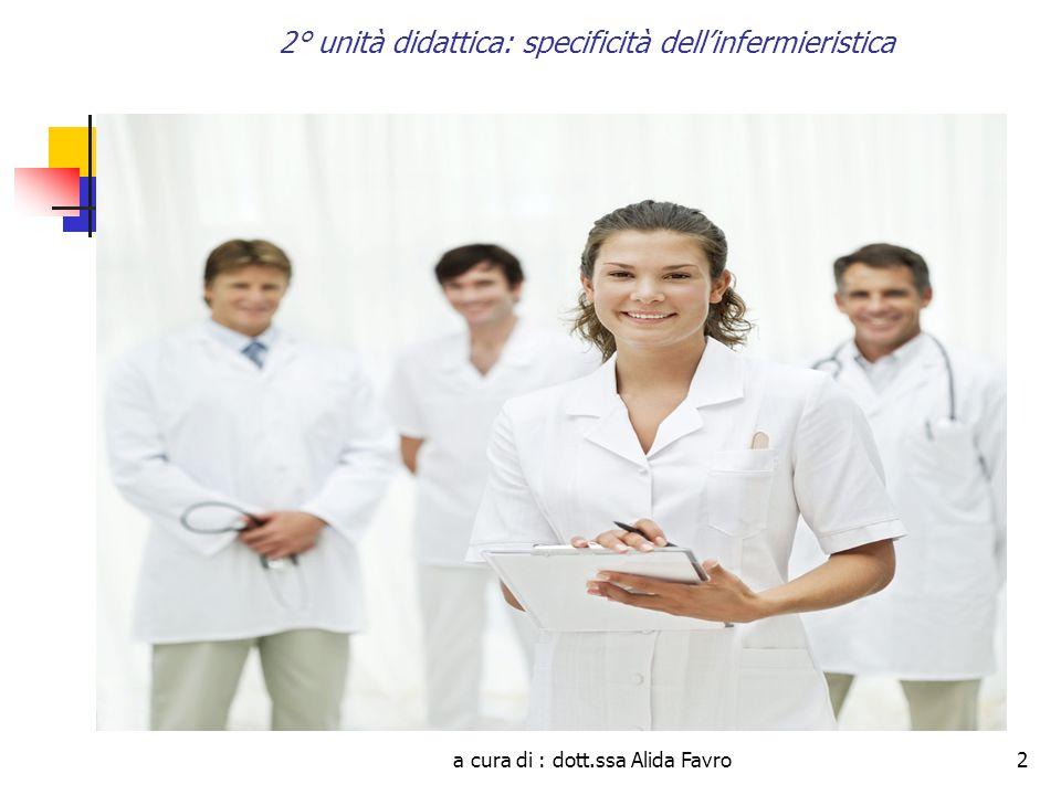 a cura di : dott.ssa Alida Favro33 2° unità didattica: specificità dell'infermieristica LEGGE 43/2006 Rende possibile la trasformazione del Collegio professionale in Ordine professionale.