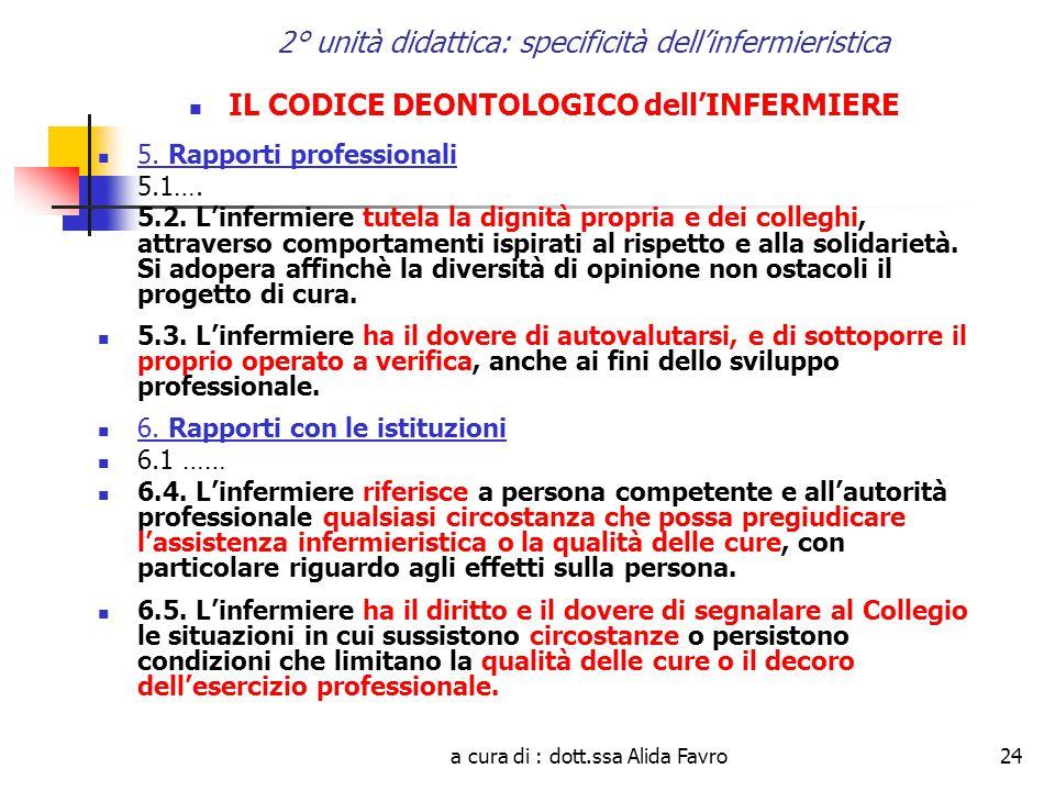 a cura di : dott.ssa Alida Favro24 2° unità didattica: specificità dell'infermieristica IL CODICE DEONTOLOGICO dell'INFERMIERE 5.