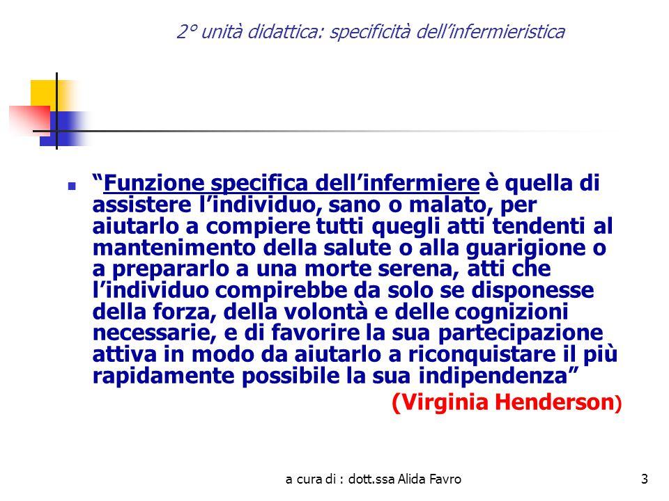 a cura di : dott.ssa Alida Favro14 2° unità didattica: specificità dell'infermieristica IL METAPARADIGMA DELL'INFERMIERISTICA Mentre i paradigmi, i modelli concettuali e le teorie possono essere diversi, il metaparadigma di una disciplina è generalmente uno solo.