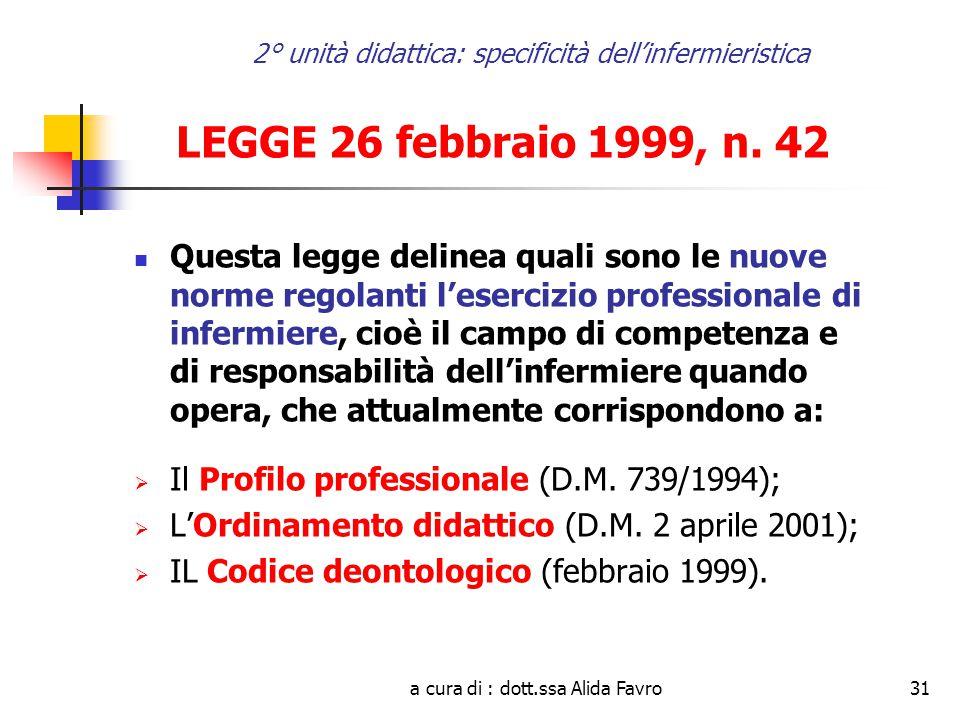 a cura di : dott.ssa Alida Favro31 2° unità didattica: specificità dell'infermieristica LEGGE 26 febbraio 1999, n.