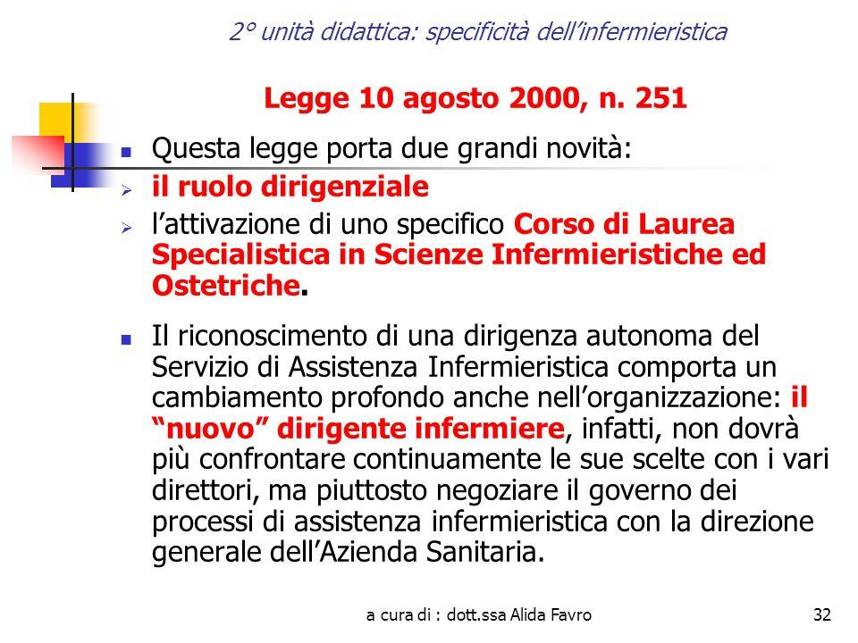 a cura di : dott.ssa Alida Favro32 2° unità didattica: specificità dell'infermieristica Legge 10 agosto 2000, n.
