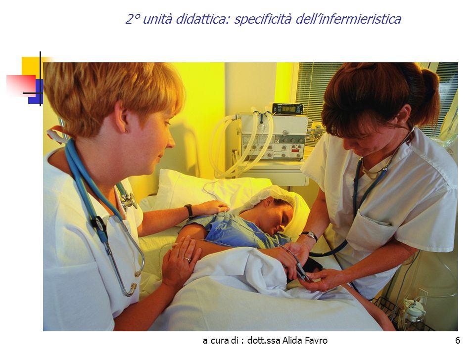 a cura di : dott.ssa Alida Favro6 2° unità didattica: specificità dell'infermieristica