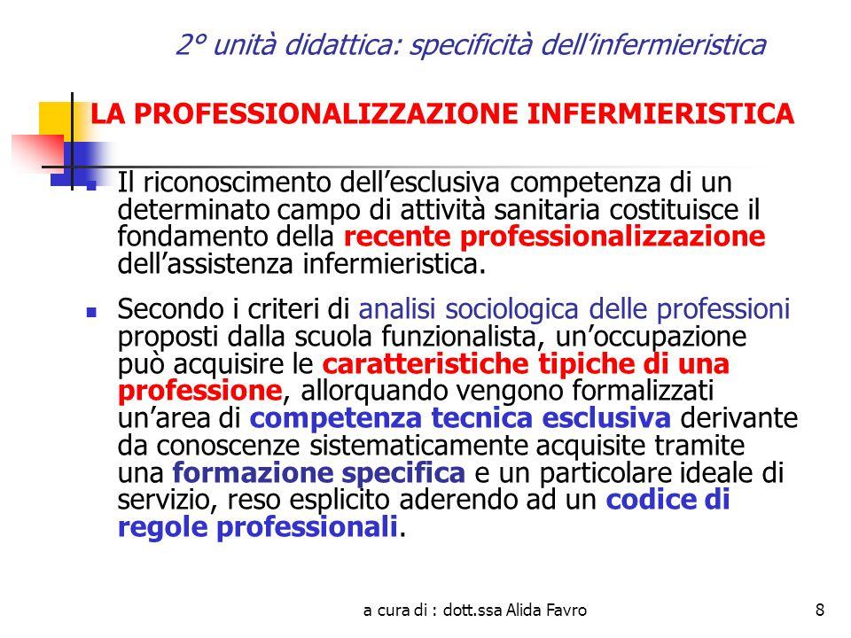 a cura di : dott.ssa Alida Favro29 2° unità didattica: specificità dell'infermieristica LEGGE 26 febbraio 1999, n.