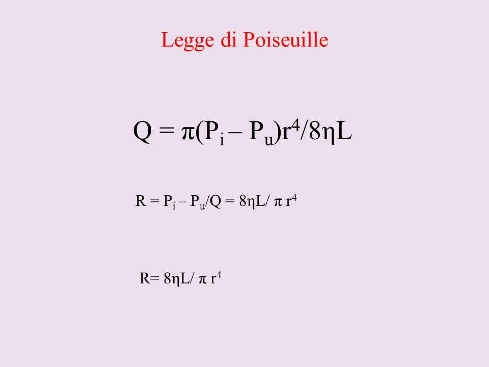 Legge di Poiseuille Q = π(P i – P u )r 4 /8ηL R = P i – P u /Q = 8ηL/ π r 4 R= 8ηL/ π r 4