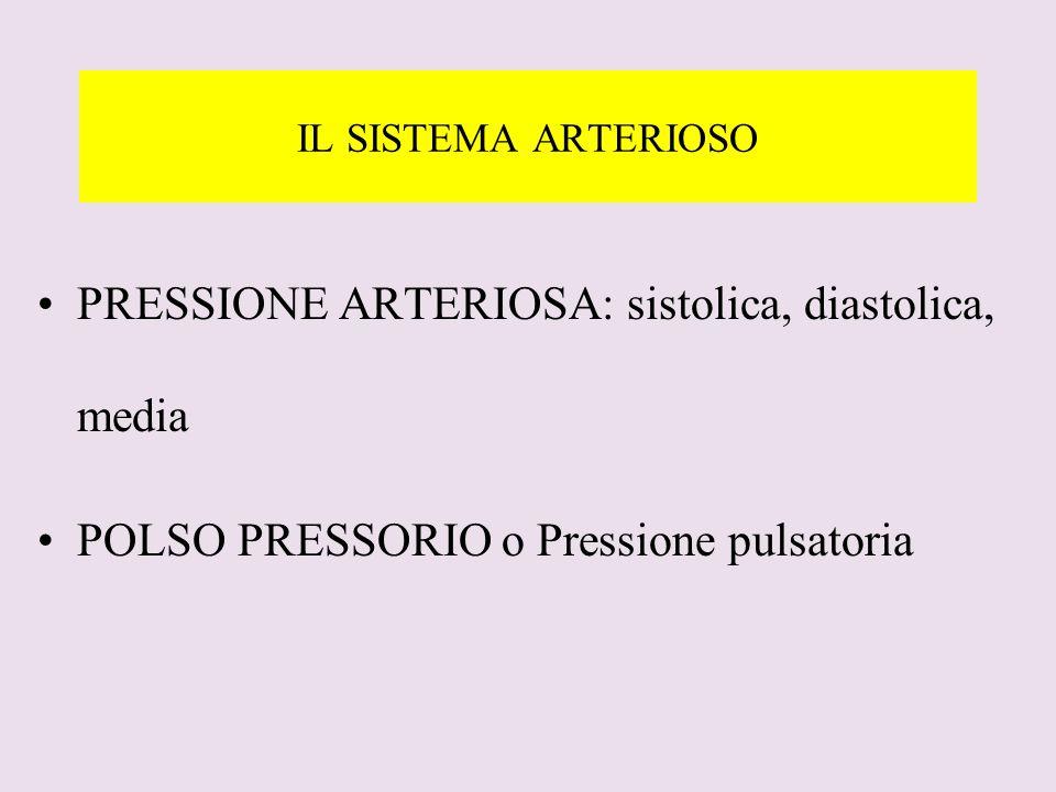 IL SISTEMA ARTERIOSO PRESSIONE ARTERIOSA: sistolica, diastolica, media POLSO PRESSORIO o Pressione pulsatoria