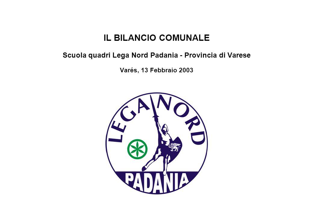 IL BILANCIO COMUNALE Scuola quadri Lega Nord Padania - Provincia di Varese Varés, 13 Febbraio 2003