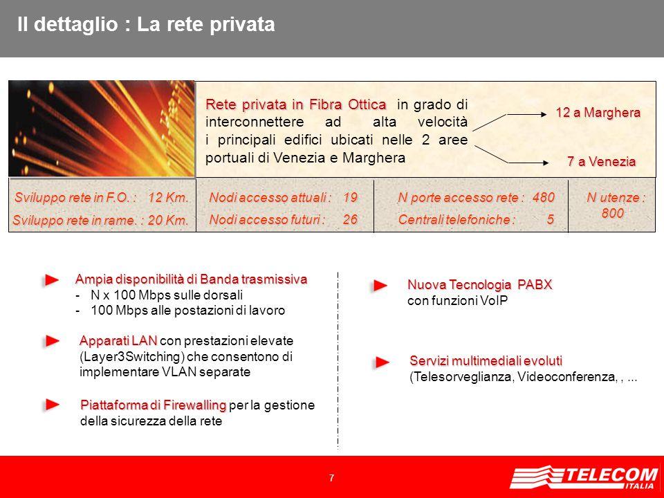 7 Rete privata in Fibra Ottica Rete privata in Fibra Ottica in grado di interconnettere ad alta velocità i principali edifici ubicati nelle 2 aree portuali di Venezia e Marghera Apparati LAN Apparati LAN con prestazioni elevate (Layer3Switching) che consentono di implementare VLAN separate Ampia disponibilità di Banda trasmissiva - N x 100 Mbps sulle dorsali - 100 Mbps alle postazioni di lavoro Piattaforma di Firewalling Piattaforma di Firewalling per la gestione della sicurezza della rete Nuova Tecnologia PABX con funzioni VoIP 12 a Marghera 7 a Venezia 7 a Venezia Il dettaglio : La rete privata Servizi multimediali evoluti (Telesorveglianza, Videoconferenza,,...