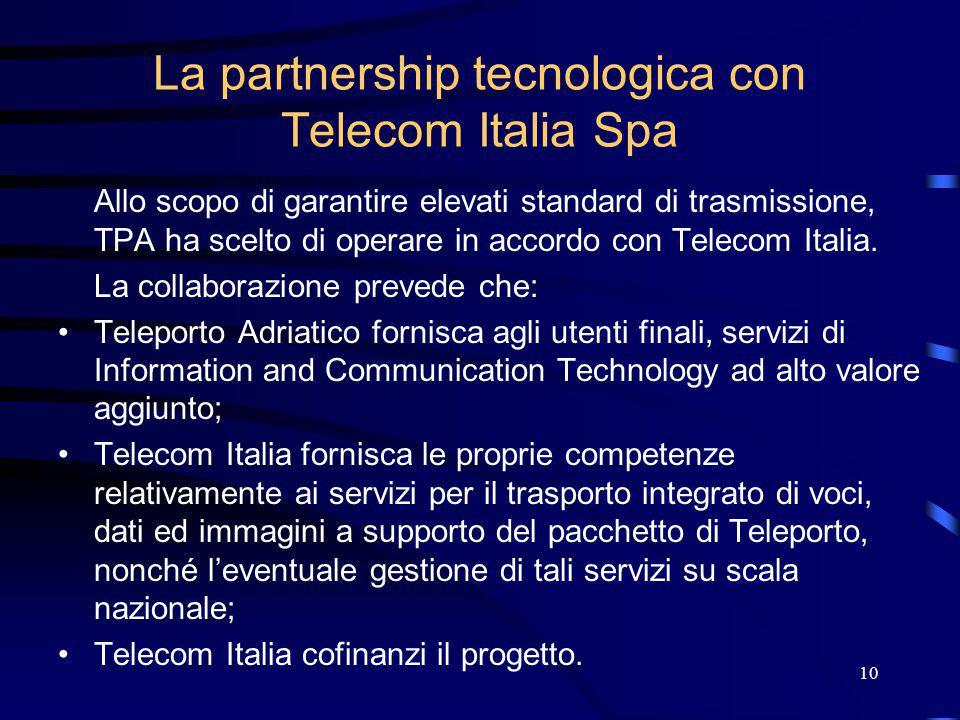 10 La partnership tecnologica con Telecom Italia Spa Allo scopo di garantire elevati standard di trasmissione, TPA ha scelto di operare in accordo con Telecom Italia.