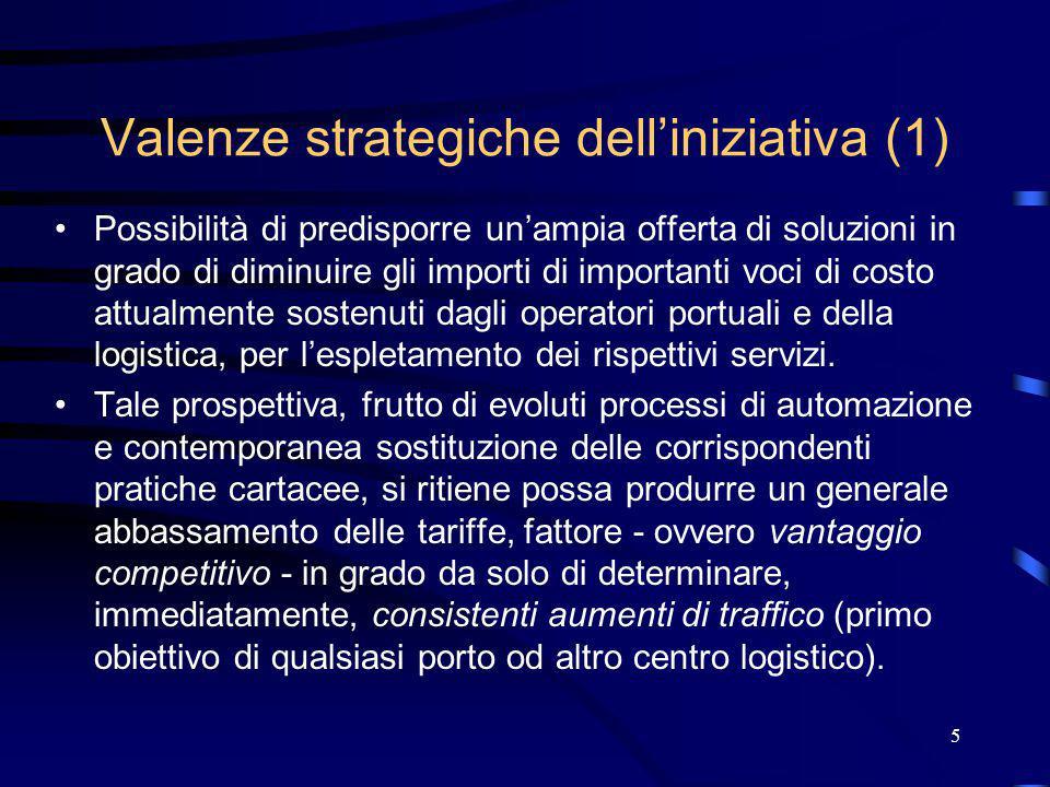 6 Valenze strategiche dell'iniziativa (2) Possibilità di attirare - grazie all'offerta di servizi ad alto valore aggiunto garantiti da una rete telefonia e dati ad elevate prestazioni - un numero sempre maggiore di operatori della logistica entro le aree portuali.