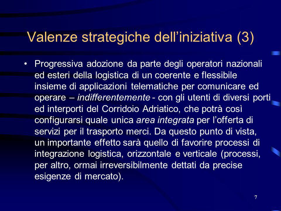 7 Valenze strategiche dell'iniziativa (3) Progressiva adozione da parte degli operatori nazionali ed esteri della logistica di un coerente e flessibile insieme di applicazioni telematiche per comunicare ed operare – indifferentemente - con gli utenti di diversi porti ed interporti del Corridoio Adriatico, che potrà così configurarsi quale unica area integrata per l'offerta di servizi per il trasporto merci.