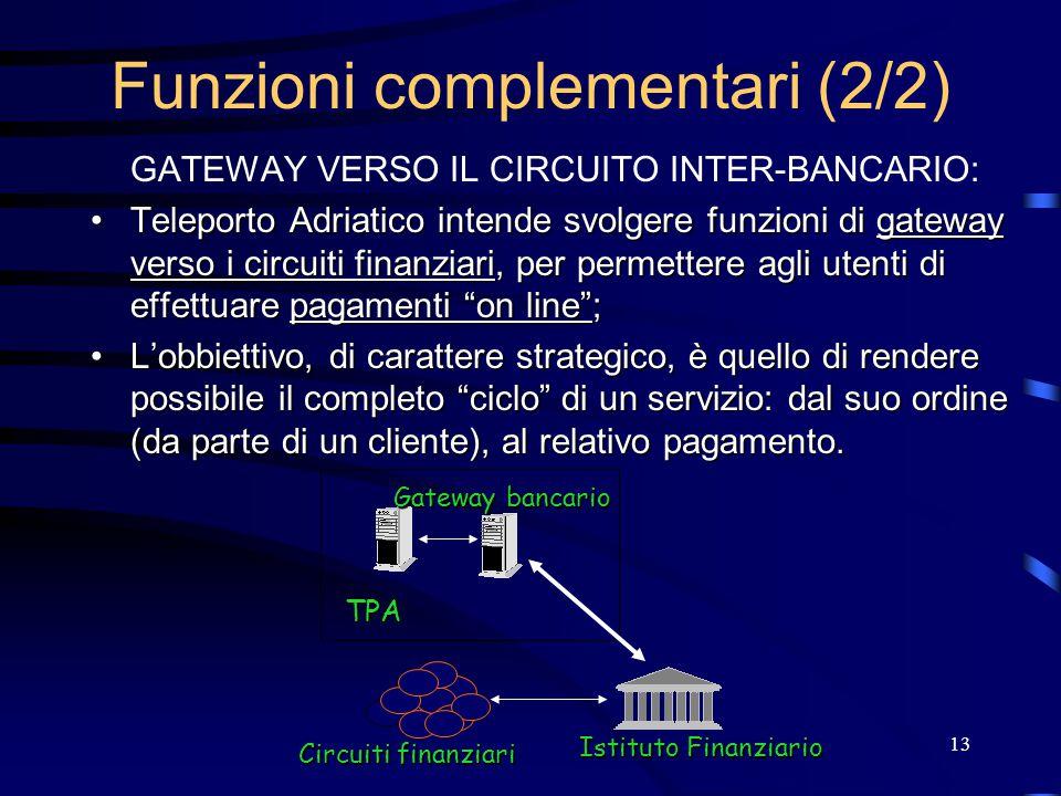13 Funzioni complementari (2/2) GATEWAY VERSO IL CIRCUITO INTER-BANCARIO: Teleporto Adriatico intende svolgere funzioni di gateway verso i circuiti finanziari, per permettere agli utenti di effettuare pagamenti on line ;Teleporto Adriatico intende svolgere funzioni di gateway verso i circuiti finanziari, per permettere agli utenti di effettuare pagamenti on line ; L'obbiettivo, di carattere strategico, è quello di rendere possibile il completo ciclo di un servizio: dal suo ordine (da parte di un cliente), al relativo pagamento.L'obbiettivo, di carattere strategico, è quello di rendere possibile il completo ciclo di un servizio: dal suo ordine (da parte di un cliente), al relativo pagamento.
