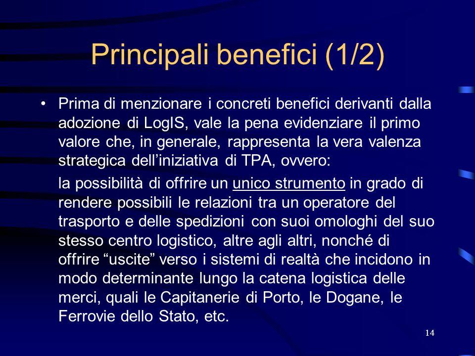 14 Principali benefici (1/2) Prima di menzionare i concreti benefici derivanti dalla adozione di LogIS, vale la pena evidenziare il primo valore che,