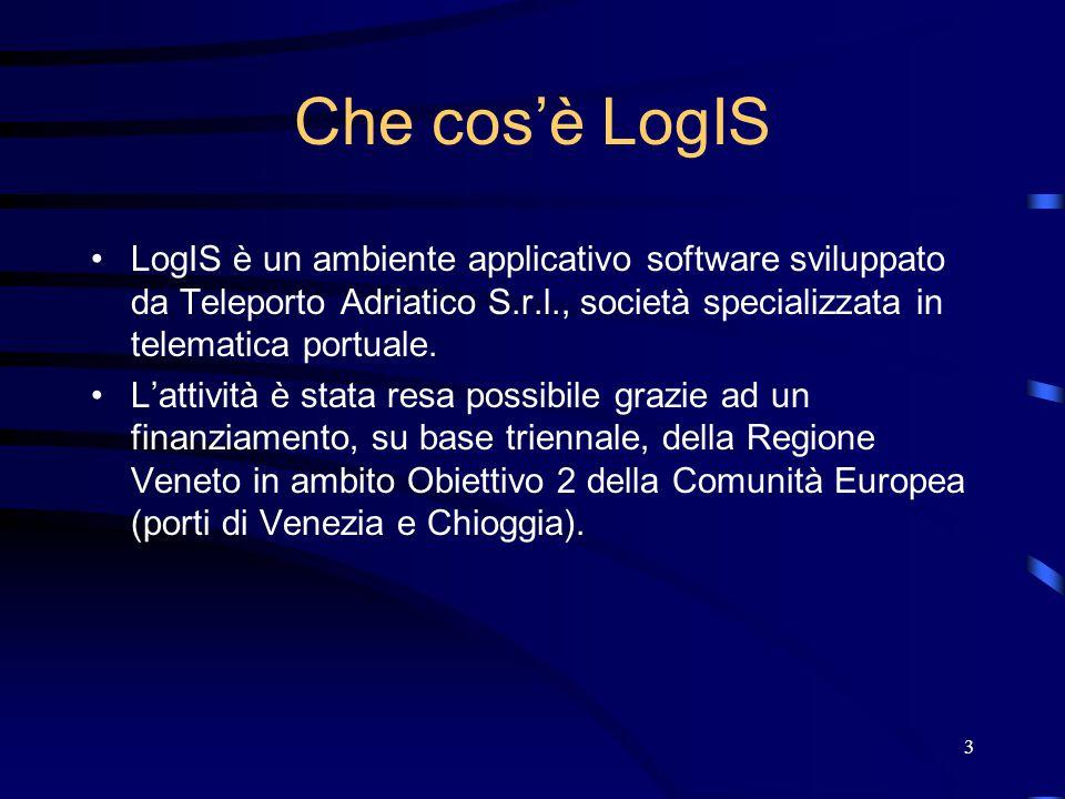 3 Che cos'è LogIS LogIS è un ambiente applicativo software sviluppato da Teleporto Adriatico S.r.l., società specializzata in telematica portuale. L'a