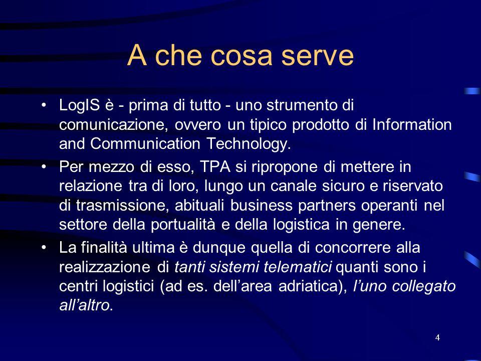 4 A che cosa serve LogIS è - prima di tutto - uno strumento di comunicazione, ovvero un tipico prodotto di Information and Communication Technology. P