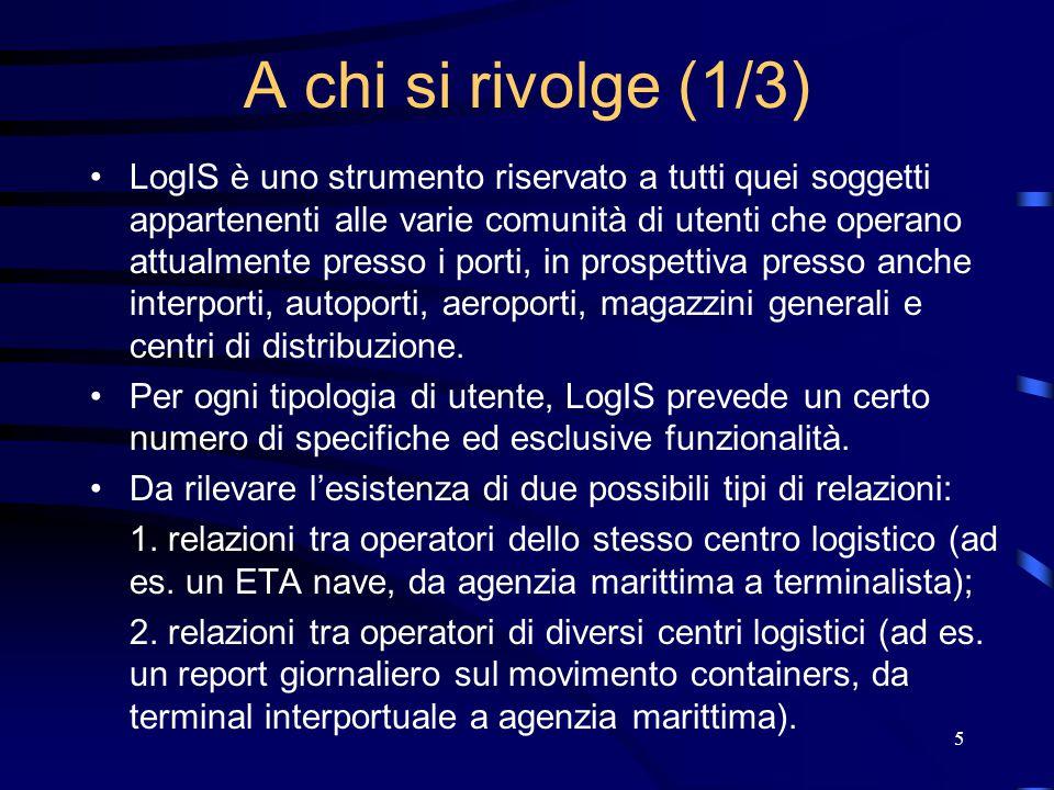 5 A chi si rivolge (1/3) LogIS è uno strumento riservato a tutti quei soggetti appartenenti alle varie comunità di utenti che operano attualmente pres