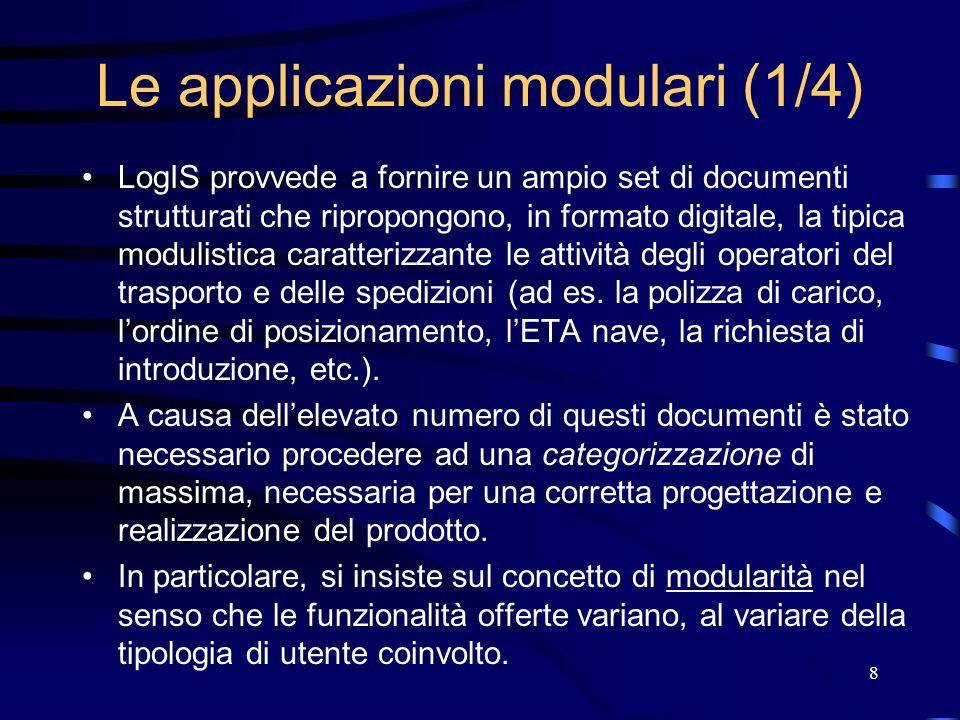 8 Le applicazioni modulari (1/4) LogIS provvede a fornire un ampio set di documenti strutturati che ripropongono, in formato digitale, la tipica modulistica caratterizzante le attività degli operatori del trasporto e delle spedizioni (ad es.