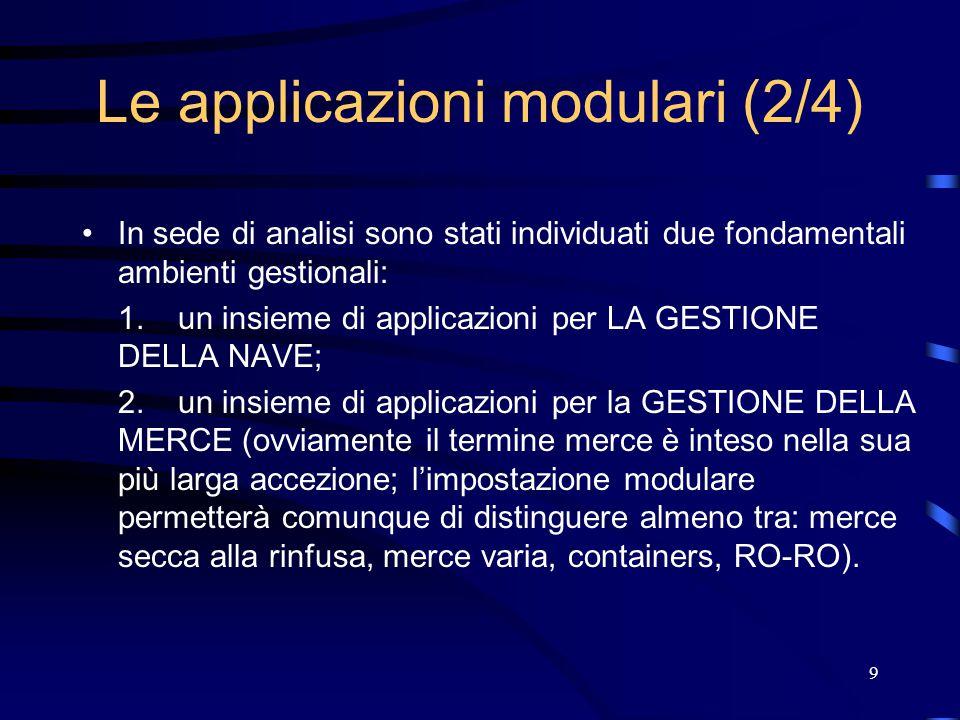 9 Le applicazioni modulari (2/4) In sede di analisi sono stati individuati due fondamentali ambienti gestionali: 1.un insieme di applicazioni per LA GESTIONE DELLA NAVE; 2.un insieme di applicazioni per la GESTIONE DELLA MERCE (ovviamente il termine merce è inteso nella sua più larga accezione; l'impostazione modulare permetterà comunque di distinguere almeno tra: merce secca alla rinfusa, merce varia, containers, RO-RO).