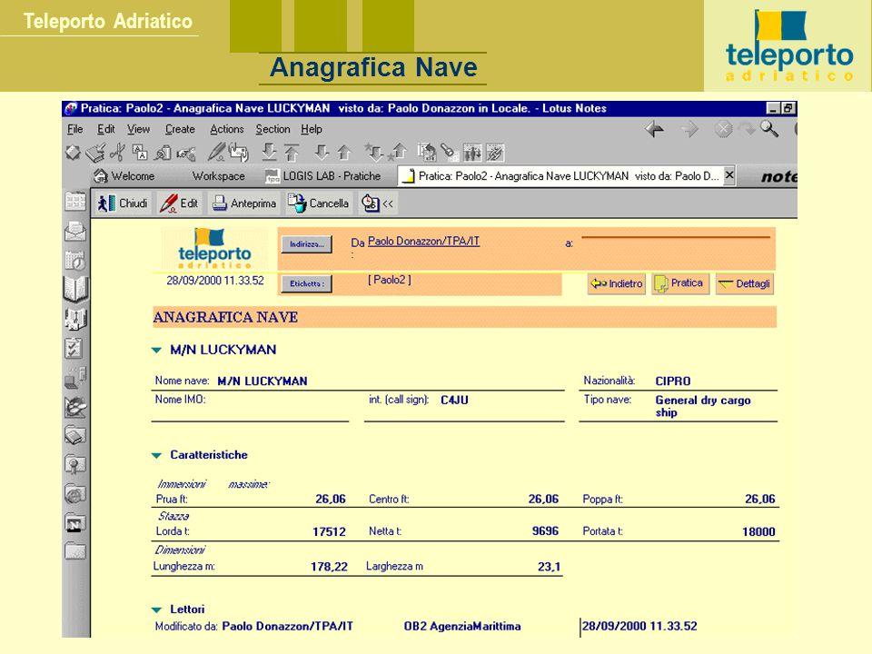 Teleporto Adriatico Anagrafica Nave