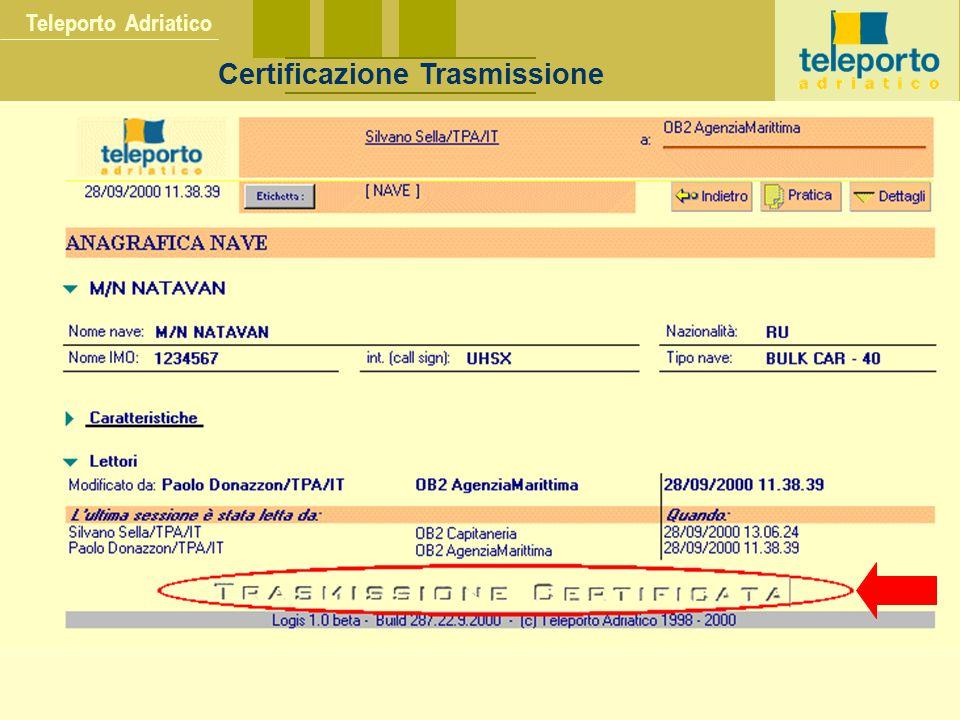 Teleporto Adriatico Certificazione Trasmissione