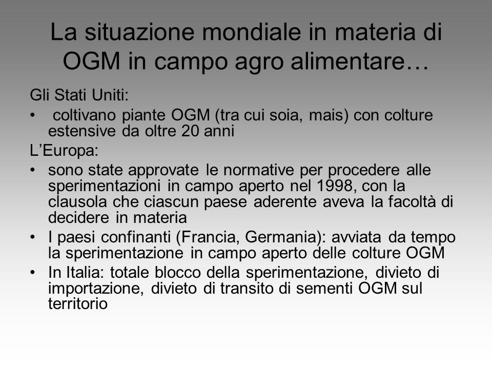 La situazione mondiale in materia di OGM in campo agro alimentare… Gli Stati Uniti: coltivano piante OGM (tra cui soia, mais) con colture estensive da oltre 20 anni L'Europa: sono state approvate le normative per procedere alle sperimentazioni in campo aperto nel 1998, con la clausola che ciascun paese aderente aveva la facoltà di decidere in materia I paesi confinanti (Francia, Germania): avviata da tempo la sperimentazione in campo aperto delle colture OGM In Italia: totale blocco della sperimentazione, divieto di importazione, divieto di transito di sementi OGM sul territorio