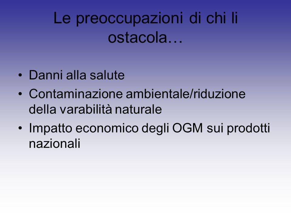 Le preoccupazioni di chi li ostacola… Danni alla salute Contaminazione ambientale/riduzione della varabilità naturale Impatto economico degli OGM sui prodotti nazionali
