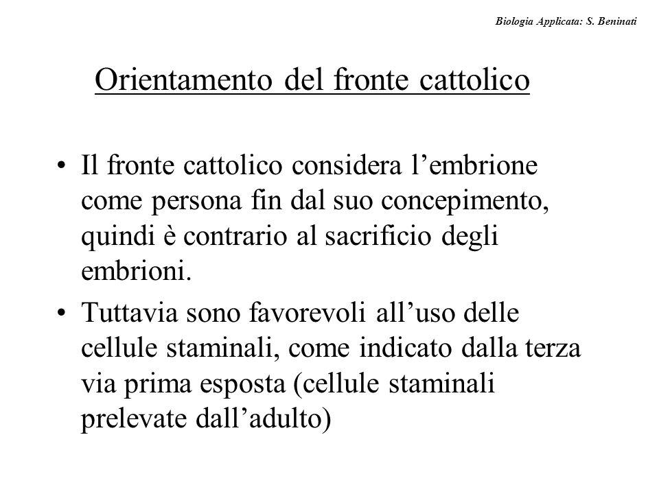 Biologia Applicata: S. Beninati Il fronte cattolico considera l'embrione come persona fin dal suo concepimento, quindi è contrario al sacrificio degli