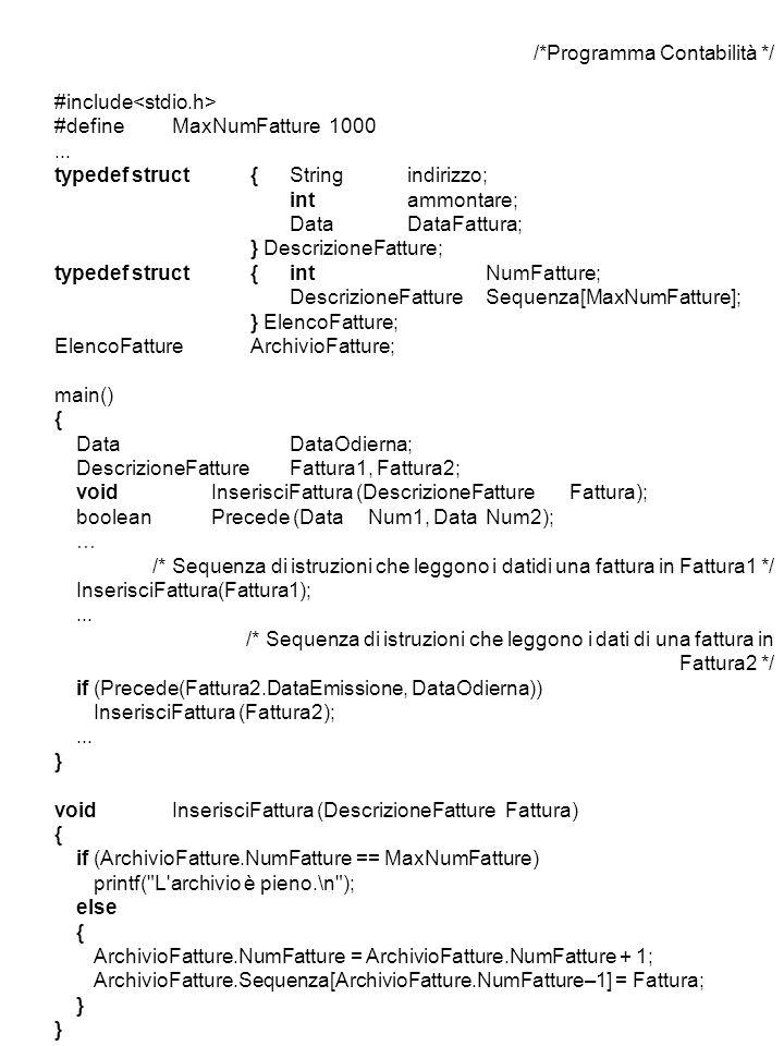 /*Programma Contabilità */ #include #defineMaxNumFatture1000...