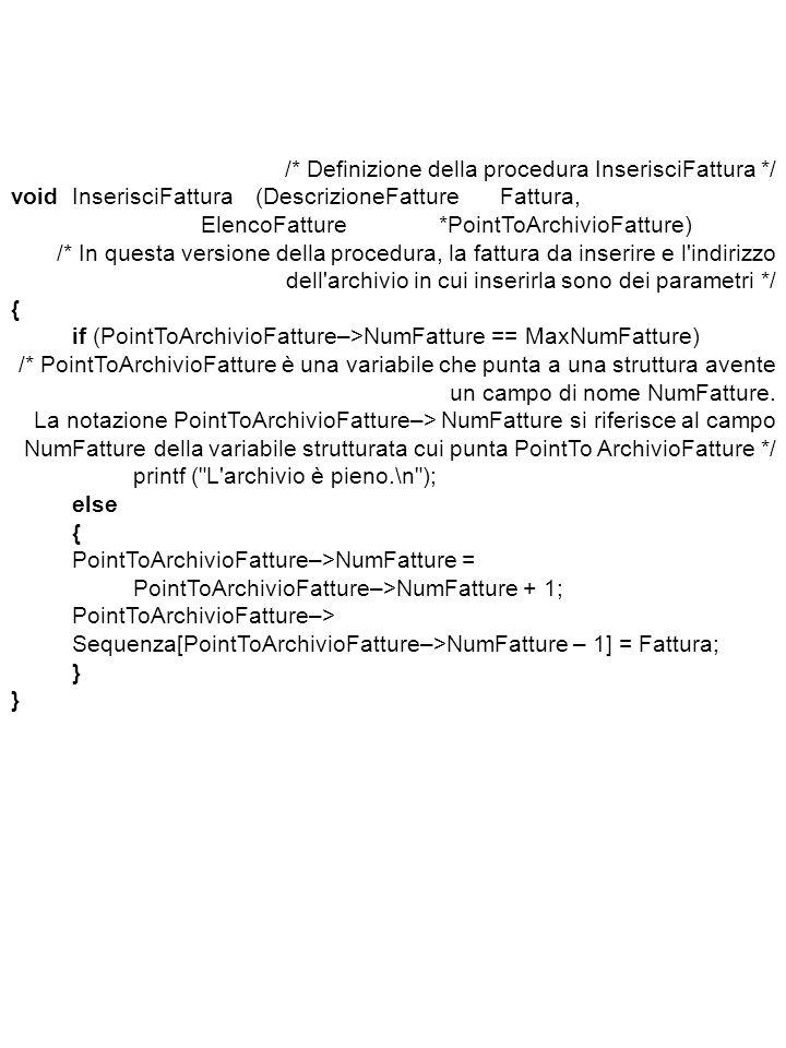 /* Definizione della procedura InserisciFattura */ voidInserisciFattura(DescrizioneFatture Fattura, ElencoFatture*PointToArchivioFatture) /* In questa versione della procedura, la fattura da inserire e l indirizzo dell archivio in cui inserirla sono dei parametri */ { if (PointToArchivioFatture–>NumFatture == MaxNumFatture) /* PointToArchivioFatture è una variabile che punta a una struttura avente un campo di nome NumFatture.