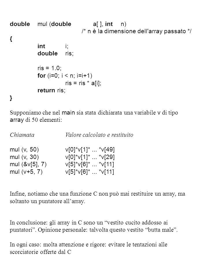 doublemul (doublea[ ], intn) /* n è la dimensione dell array passato */ { inti; doubleris; ris = 1.0; for (i=0; i < n; i=i+1) ris = ris * a[i]; return ris; } Supponiamo che nel main sia stata dichiarata una variabile v di tipo array di 50 elementi: ChiamataValore calcolato e restituito mul (v, 50)v[0]*v[1]*...