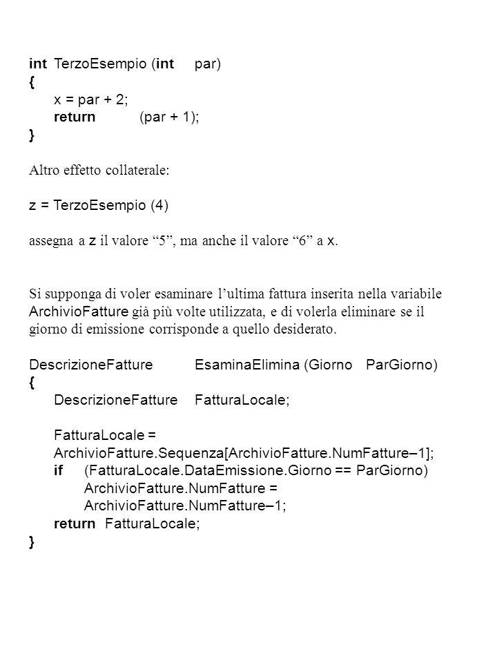intTerzoEsempio (intpar) { x = par + 2; return(par + 1); } Altro effetto collaterale: z = TerzoEsempio (4) assegna a z il valore 5 , ma anche il valore 6 a x.