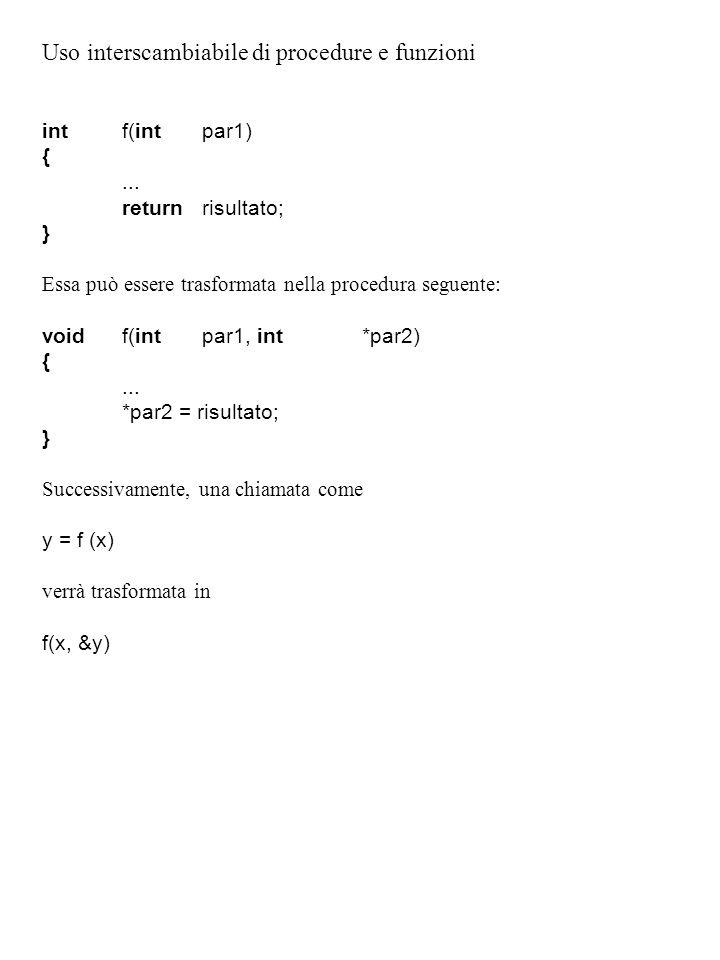 Uso interscambiabile di procedure e funzioni intf(intpar1) {...