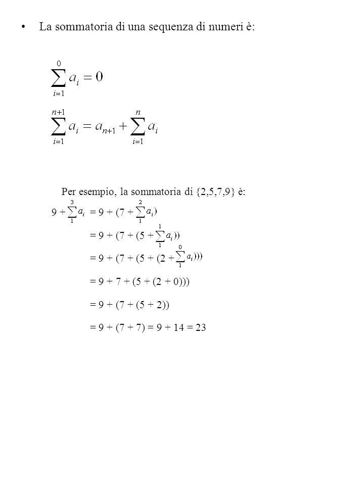 La sommatoria di una sequenza di numeri è: Per esempio, la sommatoria di  2,5,7,9  è: 9 + = 9 + (7 + = 9 + (7 + (5 + = 9 + (7 + (5 + (2 + = 9 + 7 + (5 + (2 + 0))) = 9 + (7 + (5 + 2)) = 9 + (7 + 7) = 9 + 14 = 23