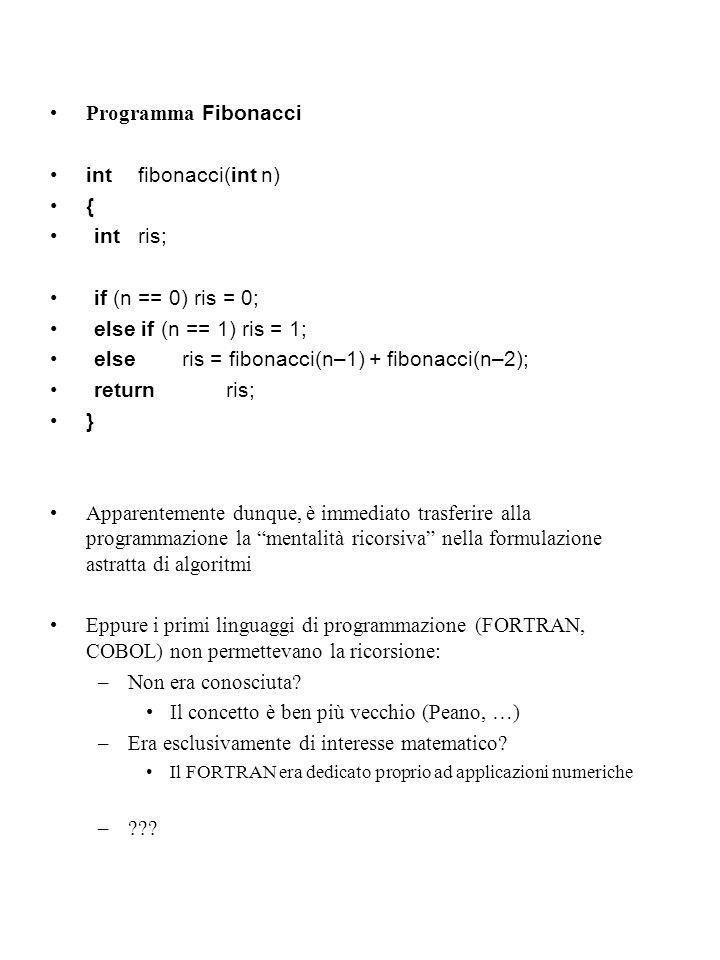 Programma Fibonacci intfibonacci(int n) { intris; if (n == 0) ris = 0; else if (n == 1) ris = 1; else ris = fibonacci(n–1) + fibonacci(n–2); returnris; } Apparentemente dunque, è immediato trasferire alla programmazione la mentalità ricorsiva nella formulazione astratta di algoritmi Eppure i primi linguaggi di programmazione (FORTRAN, COBOL) non permettevano la ricorsione: –Non era conosciuta.