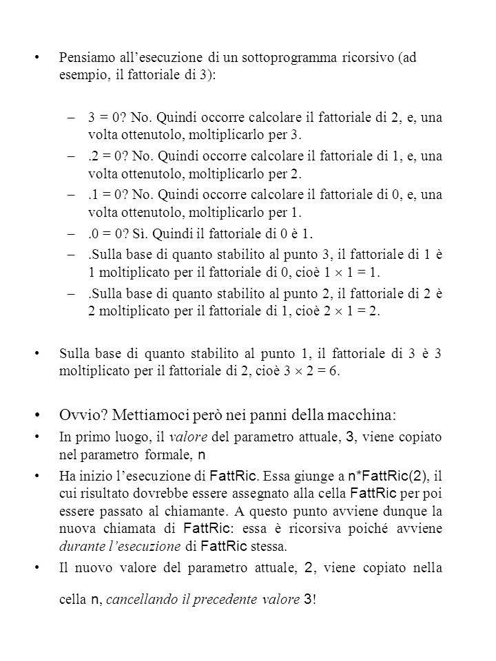 Pensiamo all'esecuzione di un sottoprogramma ricorsivo (ad esempio, il fattoriale di 3): –3 = 0.