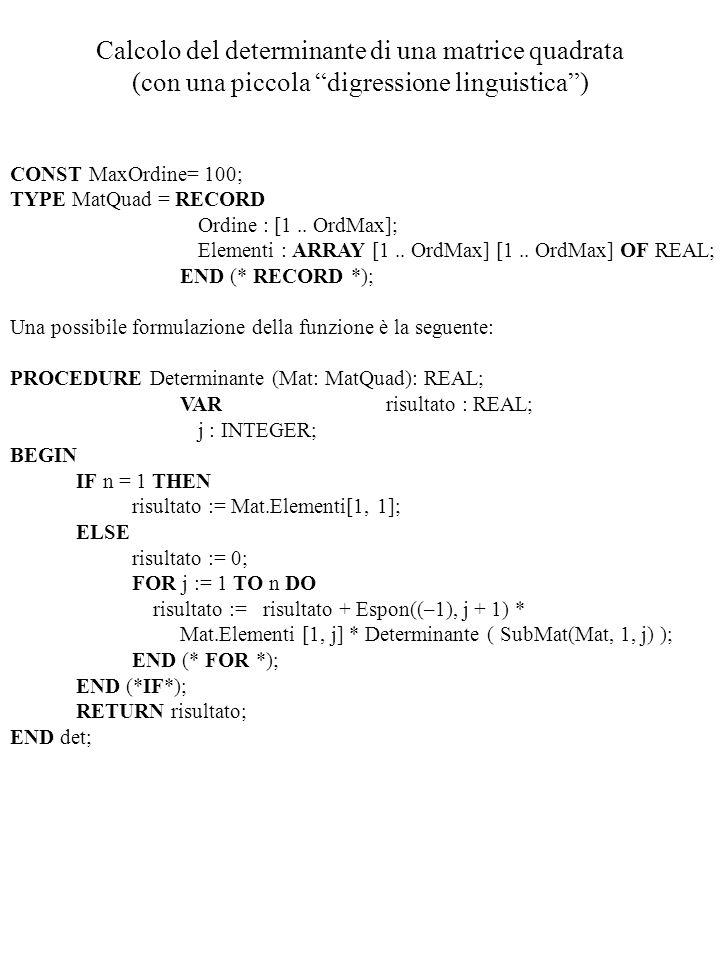 Calcolo del determinante di una matrice quadrata (con una piccola digressione linguistica ) CONST MaxOrdine= 100; TYPE MatQuad = RECORD Ordine : [1..