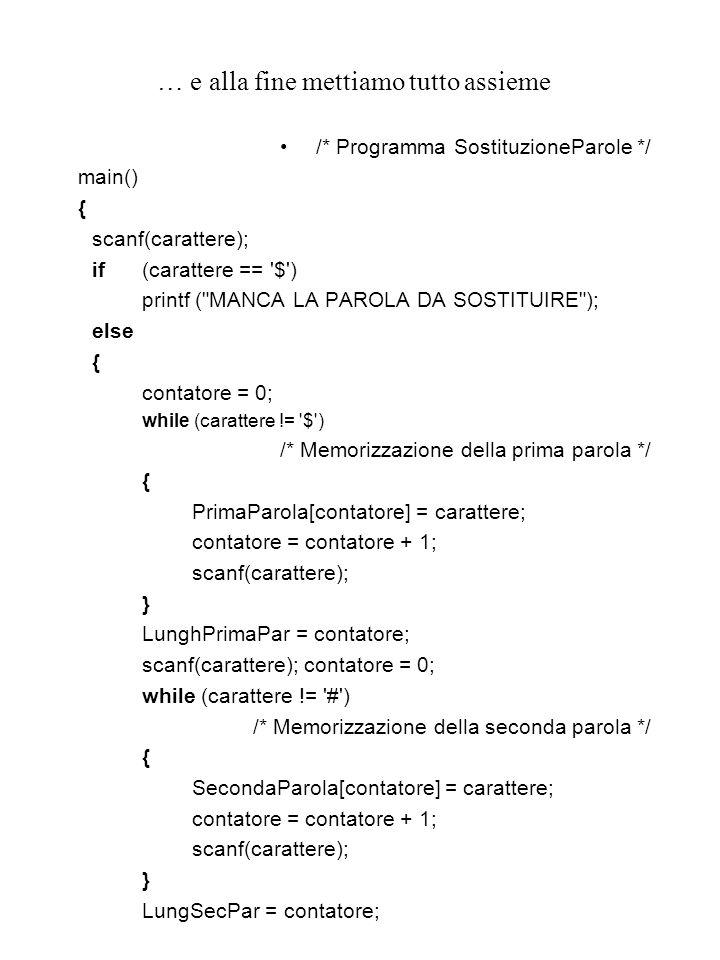 … e alla fine mettiamo tutto assieme /* Programma SostituzioneParole */ main() { scanf(carattere); if(carattere == $ ) printf ( MANCA LA PAROLA DA SOSTITUIRE ); else { contatore = 0; while (carattere != $ ) /* Memorizzazione della prima parola */ { PrimaParola[contatore] = carattere; contatore = contatore + 1; scanf(carattere); } LunghPrimaPar = contatore; scanf(carattere); contatore = 0; while (carattere != # ) /* Memorizzazione della seconda parola */ { SecondaParola[contatore] = carattere; contatore = contatore + 1; scanf(carattere); } LungSecPar = contatore;