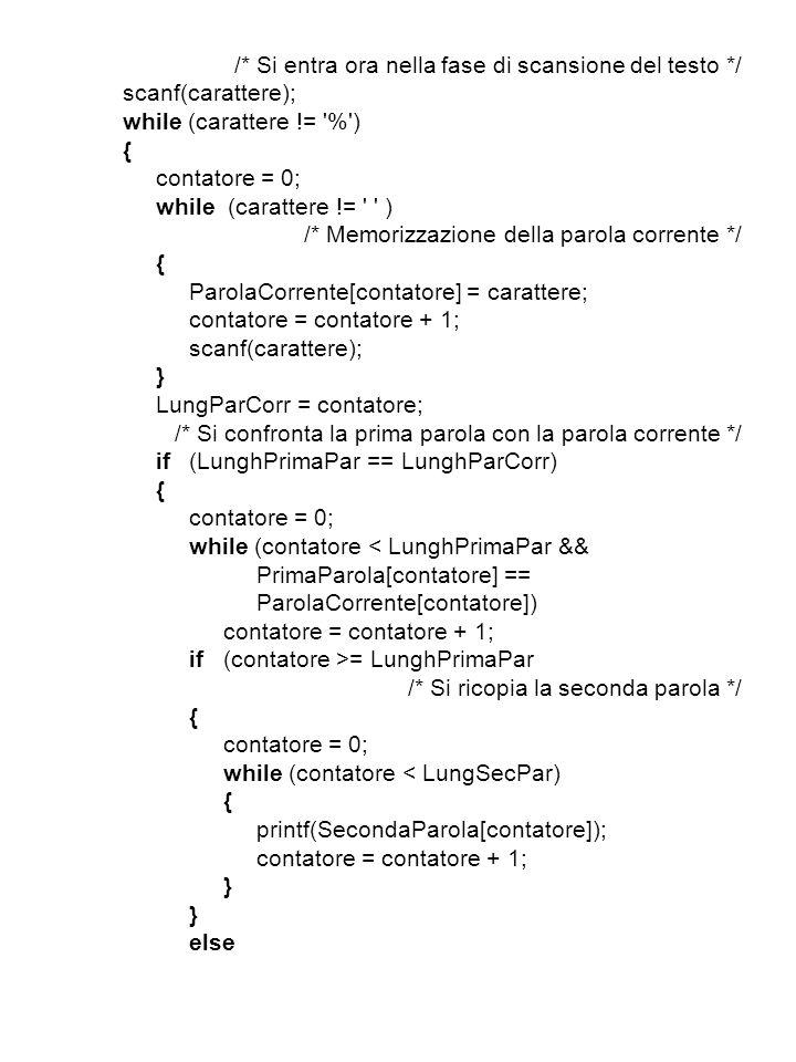 /* Si entra ora nella fase di scansione del testo */ scanf(carattere); while (carattere != % ) { contatore = 0; while (carattere != ) /* Memorizzazione della parola corrente */ { ParolaCorrente[contatore] = carattere; contatore = contatore + 1; scanf(carattere); } LungParCorr = contatore; /* Si confronta la prima parola con la parola corrente */ if(LunghPrimaPar == LunghParCorr) { contatore = 0; while (contatore < LunghPrimaPar && PrimaParola[contatore] == ParolaCorrente[contatore]) contatore = contatore + 1; if(contatore >= LunghPrimaPar /* Si ricopia la seconda parola */ { contatore = 0; while (contatore < LungSecPar) { printf(SecondaParola[contatore]); contatore = contatore + 1; } else