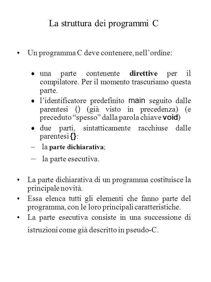 La struttura dei programmi C Un programma C deve contenere, nell'ordine:  una parte contenente direttive per il compilatore.