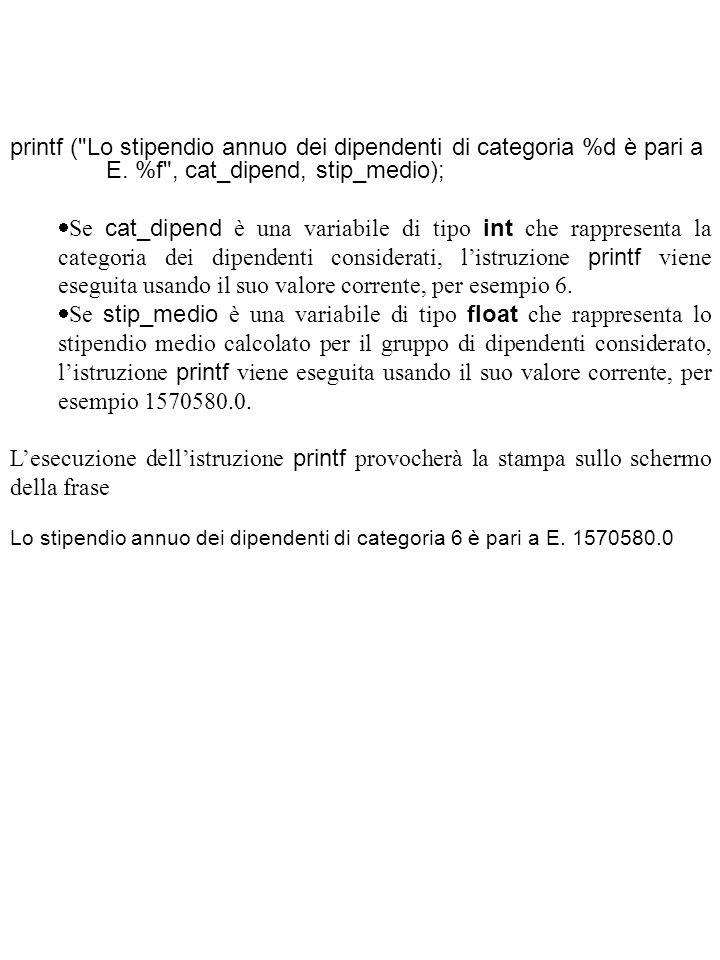 printf ( Lo stipendio annuo dei dipendenti di categoria %d è pari a E.
