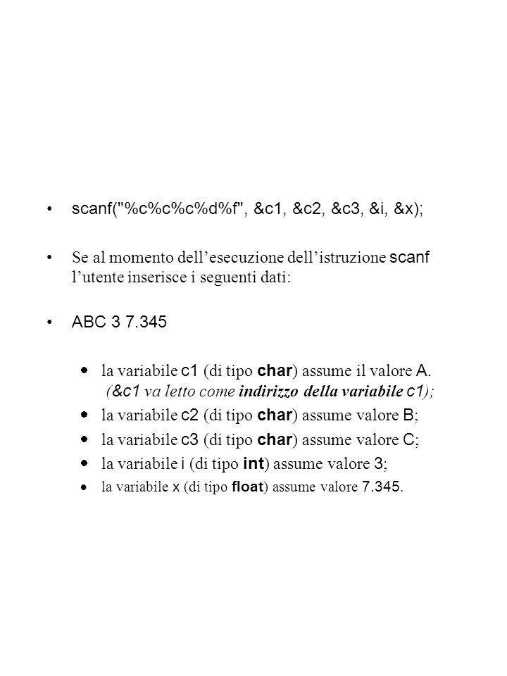 scanf( %c%c%c%d%f , &c1, &c2, &c3, &i, &x); Se al momento dell'esecuzione dell'istruzione scanf l'utente inserisce i seguenti dati: ABC 3 7.345  la variabile c1 (di tipo char ) assume il valore A.